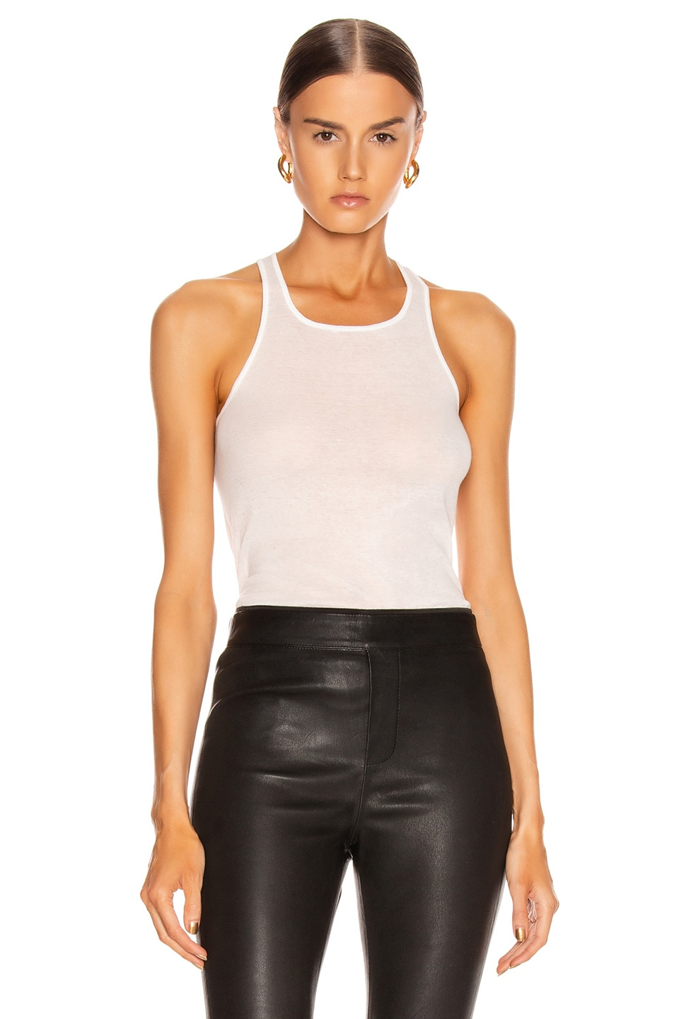 Image 1 of Rick Owens Basic Rib Tank Top in Milk