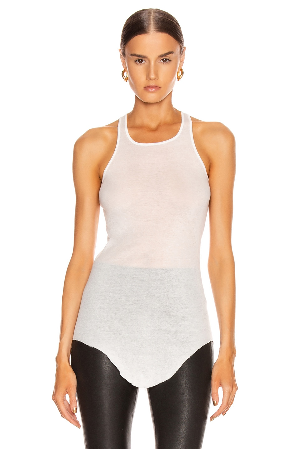 Image 2 of Rick Owens Basic Rib Tank Top in Milk