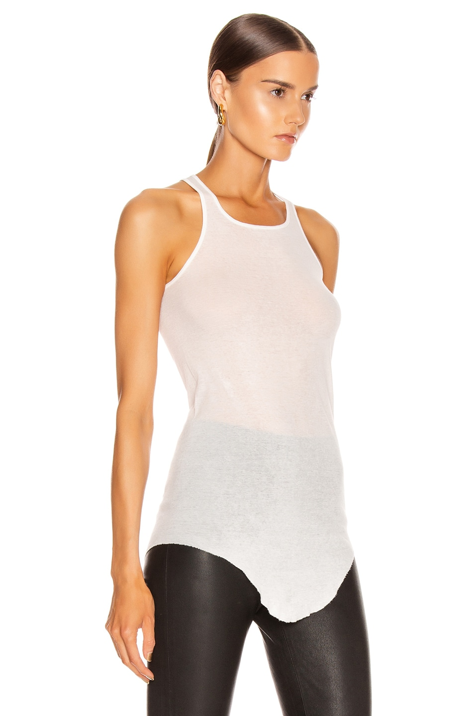 Image 3 of Rick Owens Basic Rib Tank Top in Milk