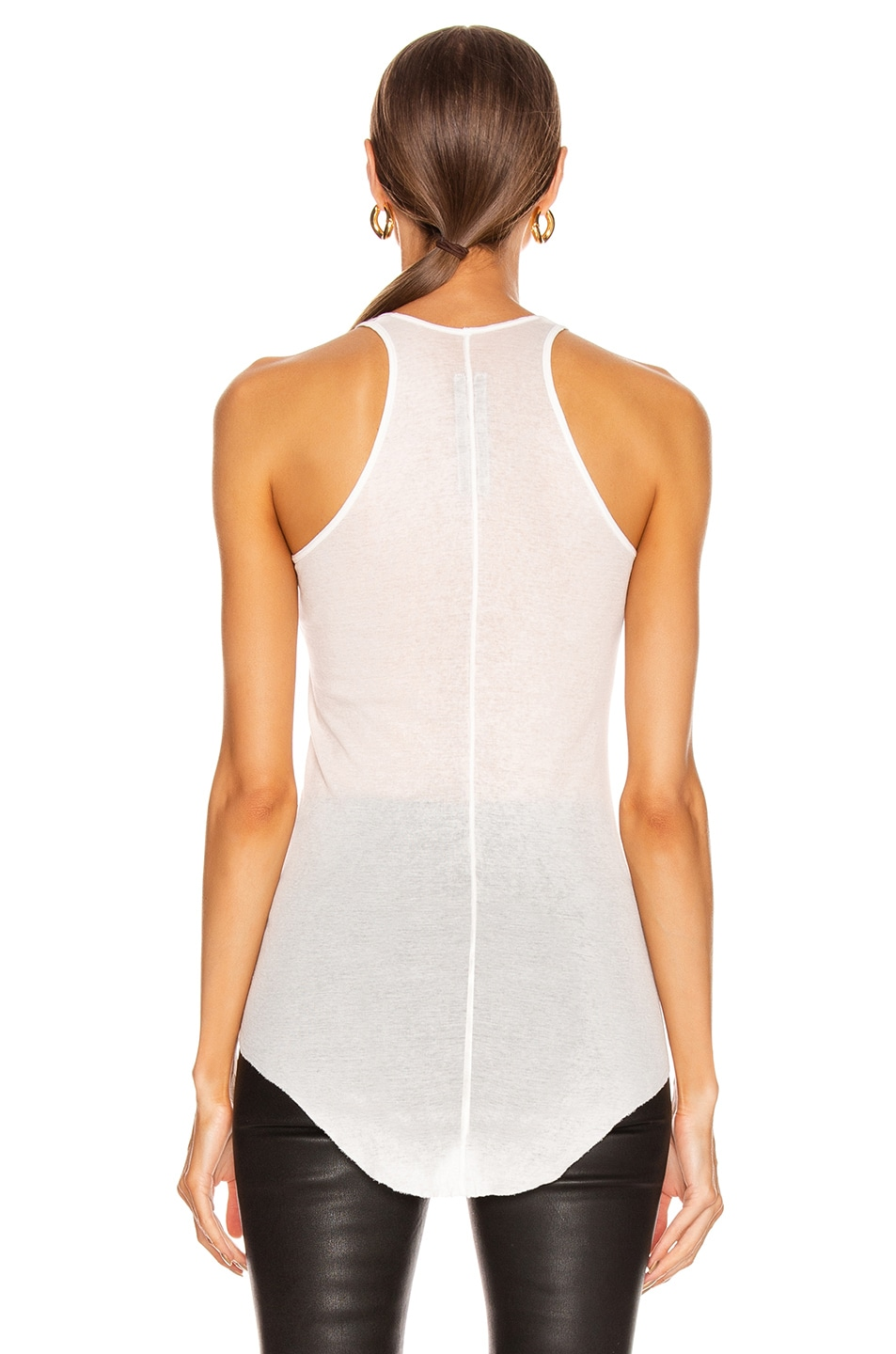 Image 4 of Rick Owens Basic Rib Tank Top in Milk
