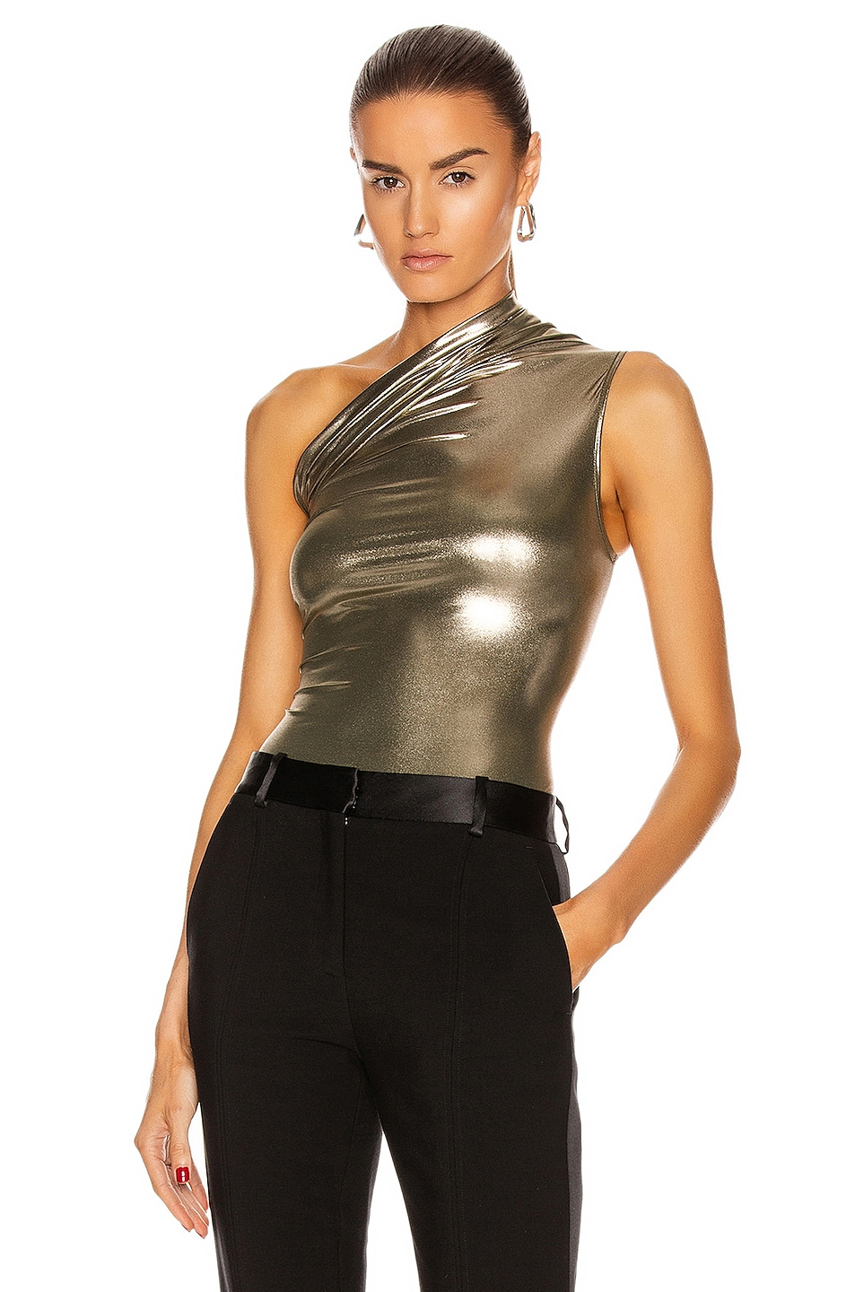 Image 1 of Rick Owens One Shoulder Bodysuit in Bronze