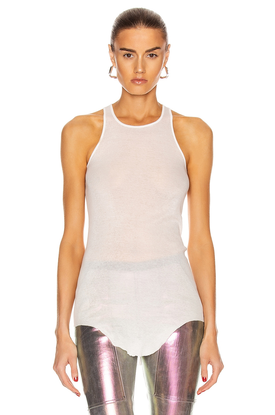 Image 1 of Rick Owens Basic Rib Tank Top in Chalk White