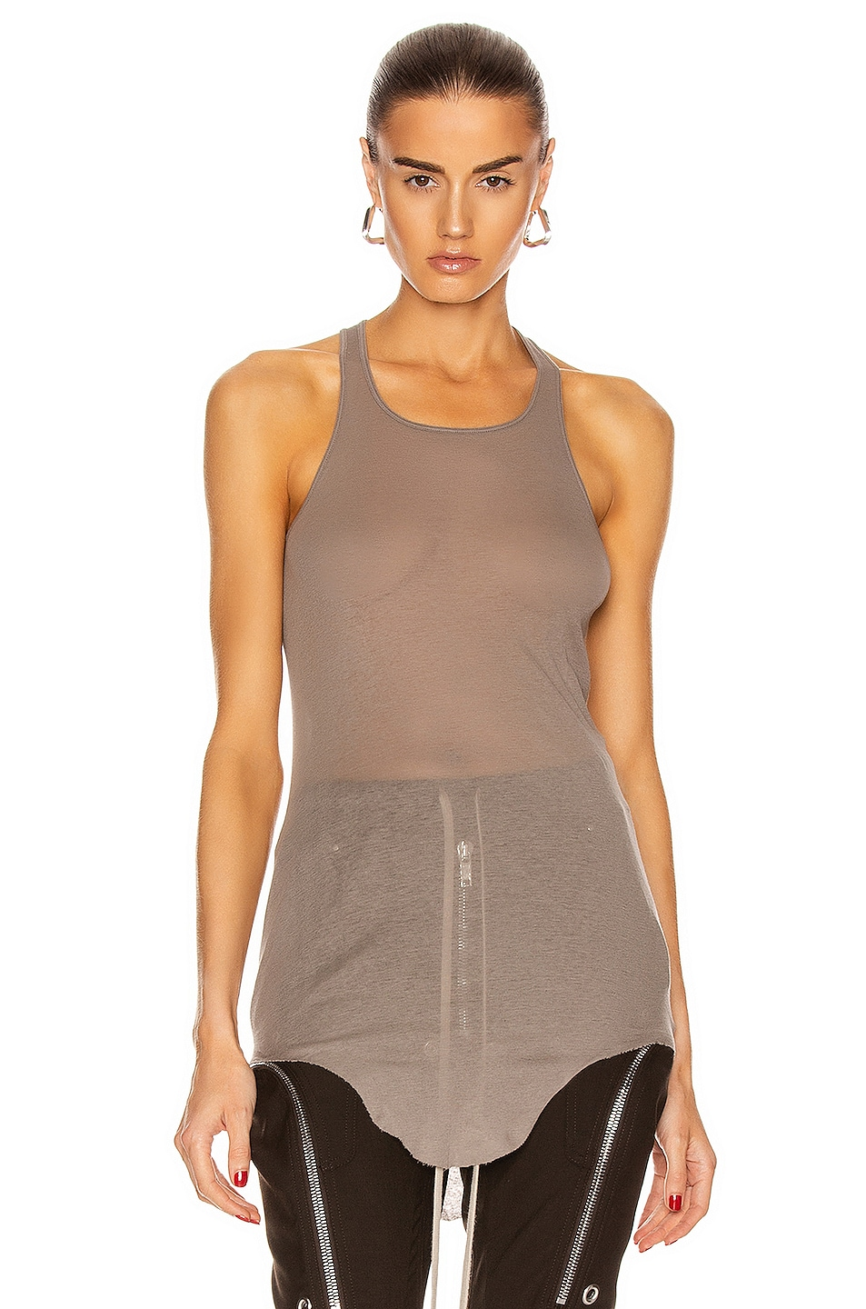 Image 1 of Rick Owens Basic Rib Tank Top in Dust