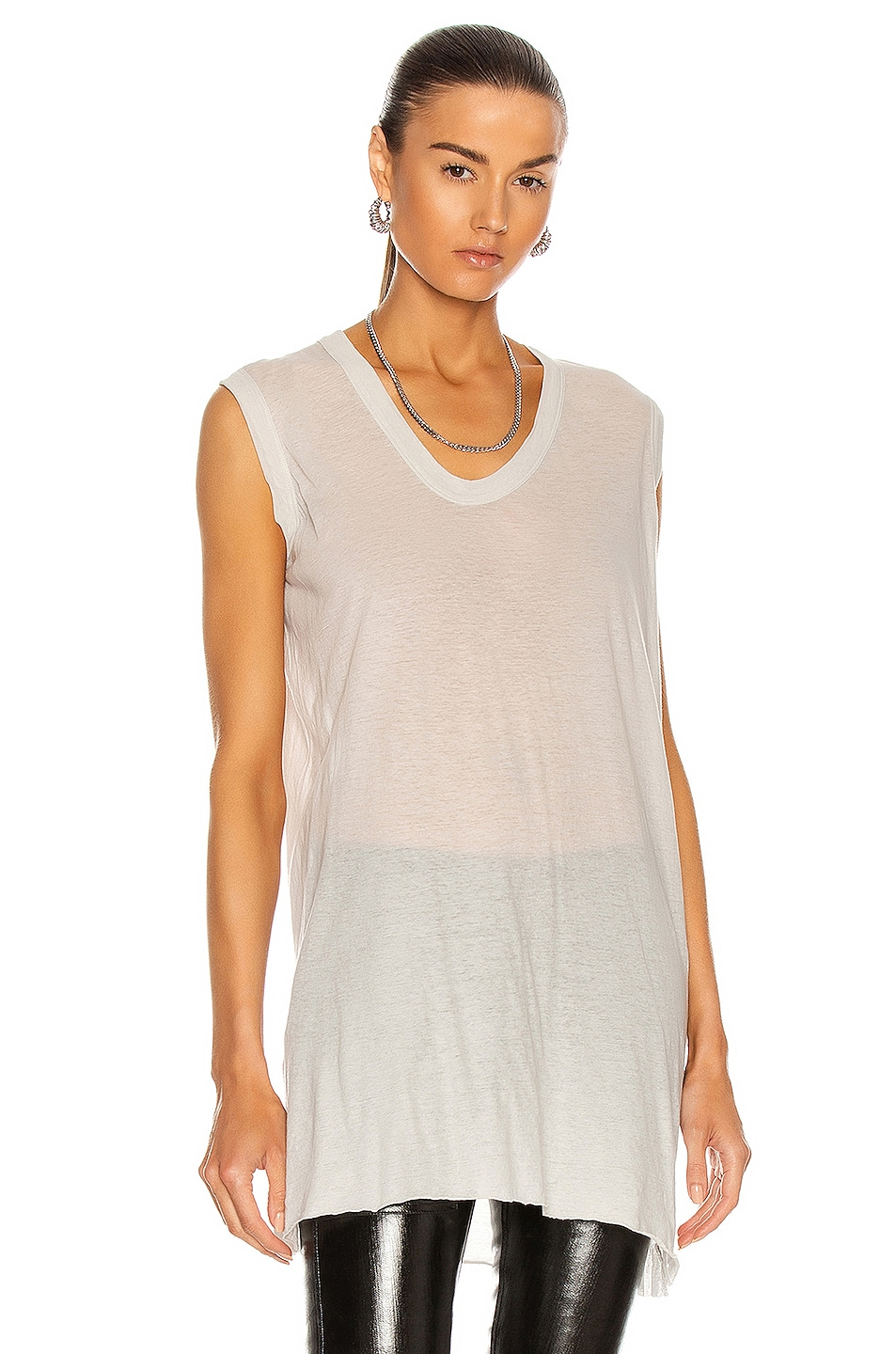 Image 1 of Rick Owens V Neck Tank Top in Oyster