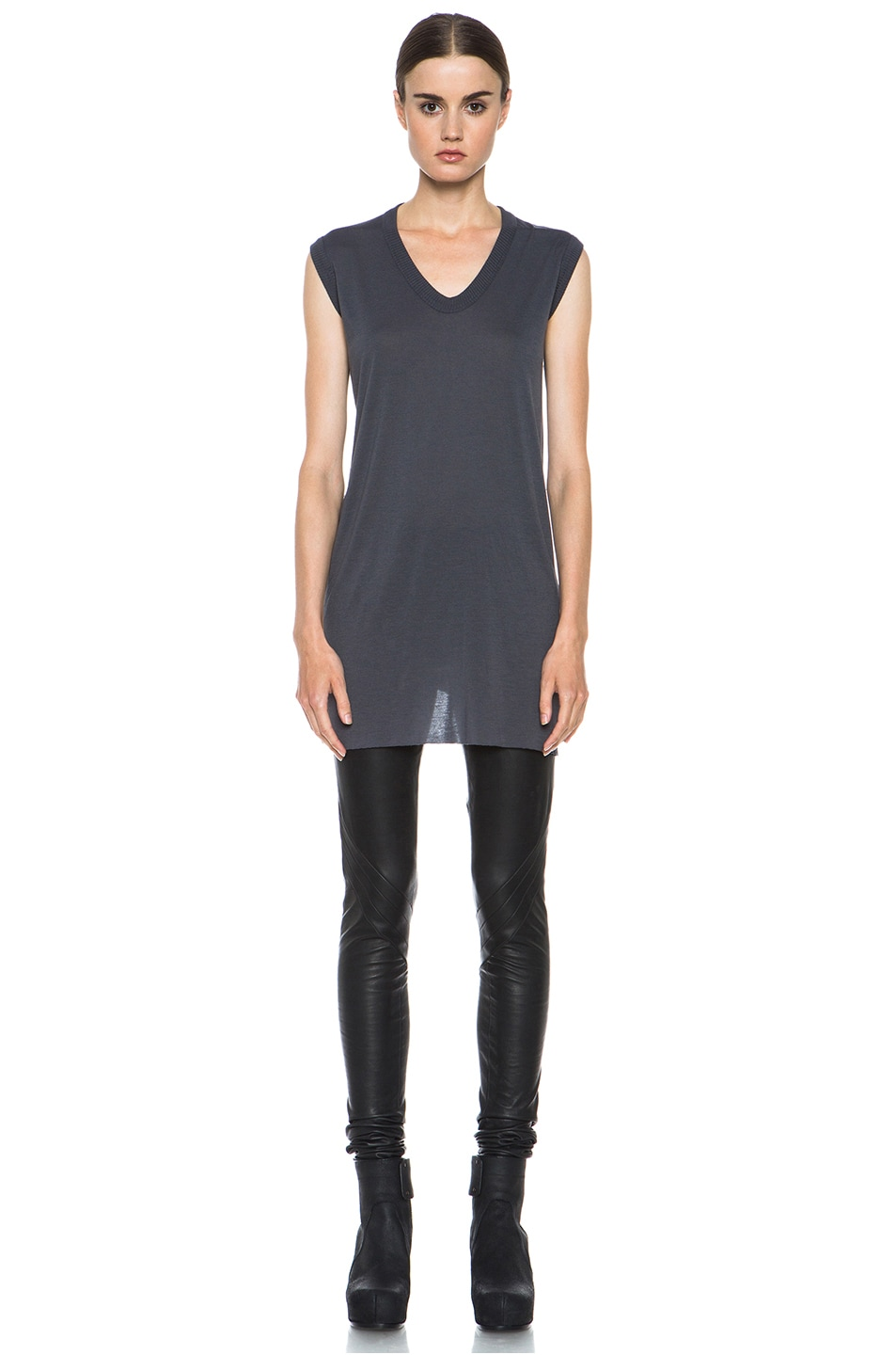 Image 1 of Rick Owens V Neck Tee in Petrol