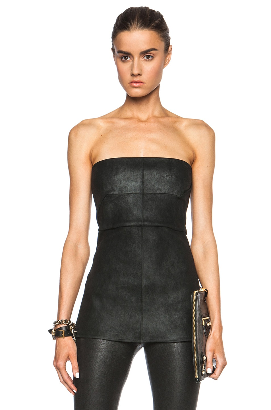 Image 1 of Rick Owens Anthem Leather Bustier in Black