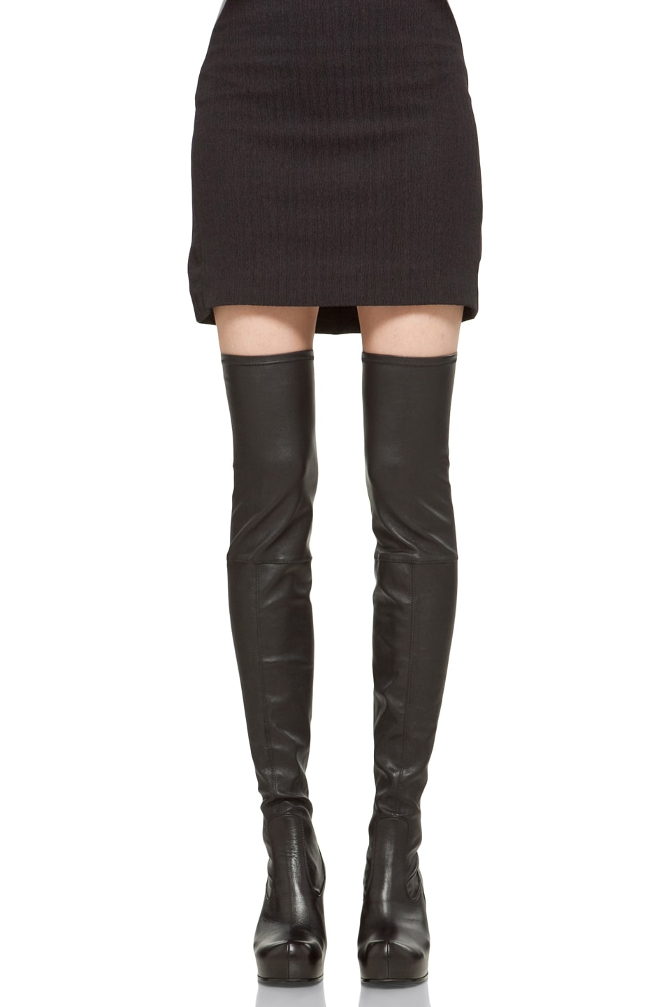 Image 1 of Rick Owens Thigh High Wedge in Black
