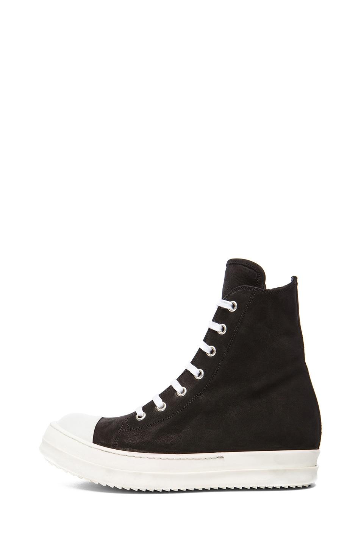 Image 1 of Rick Owens Ramones Suede Sneakers in Black