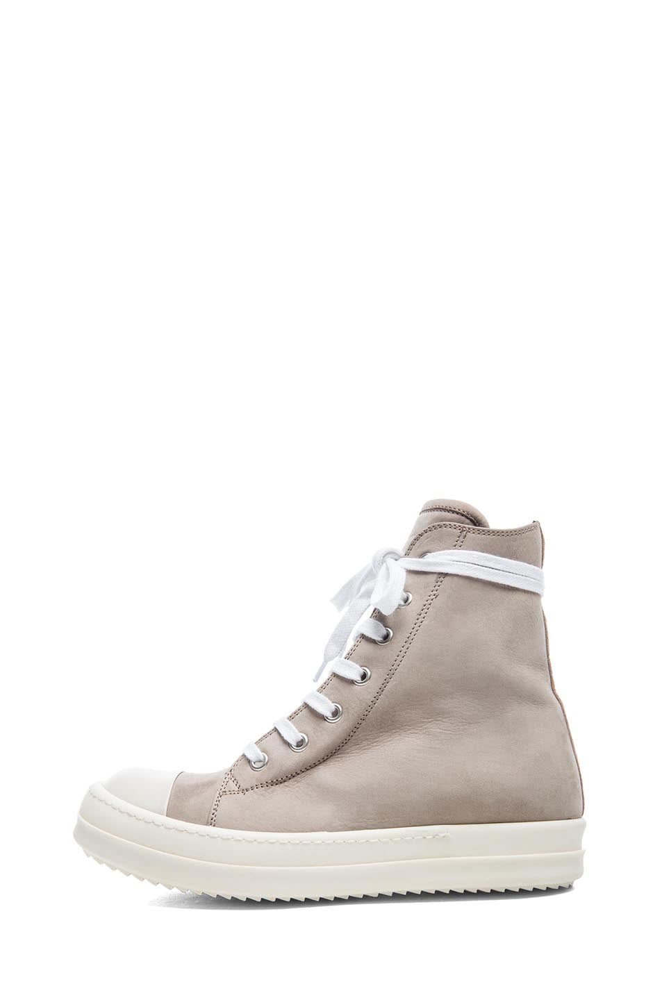 Image 1 of Rick Owens Leather Sneakers in Beige & White