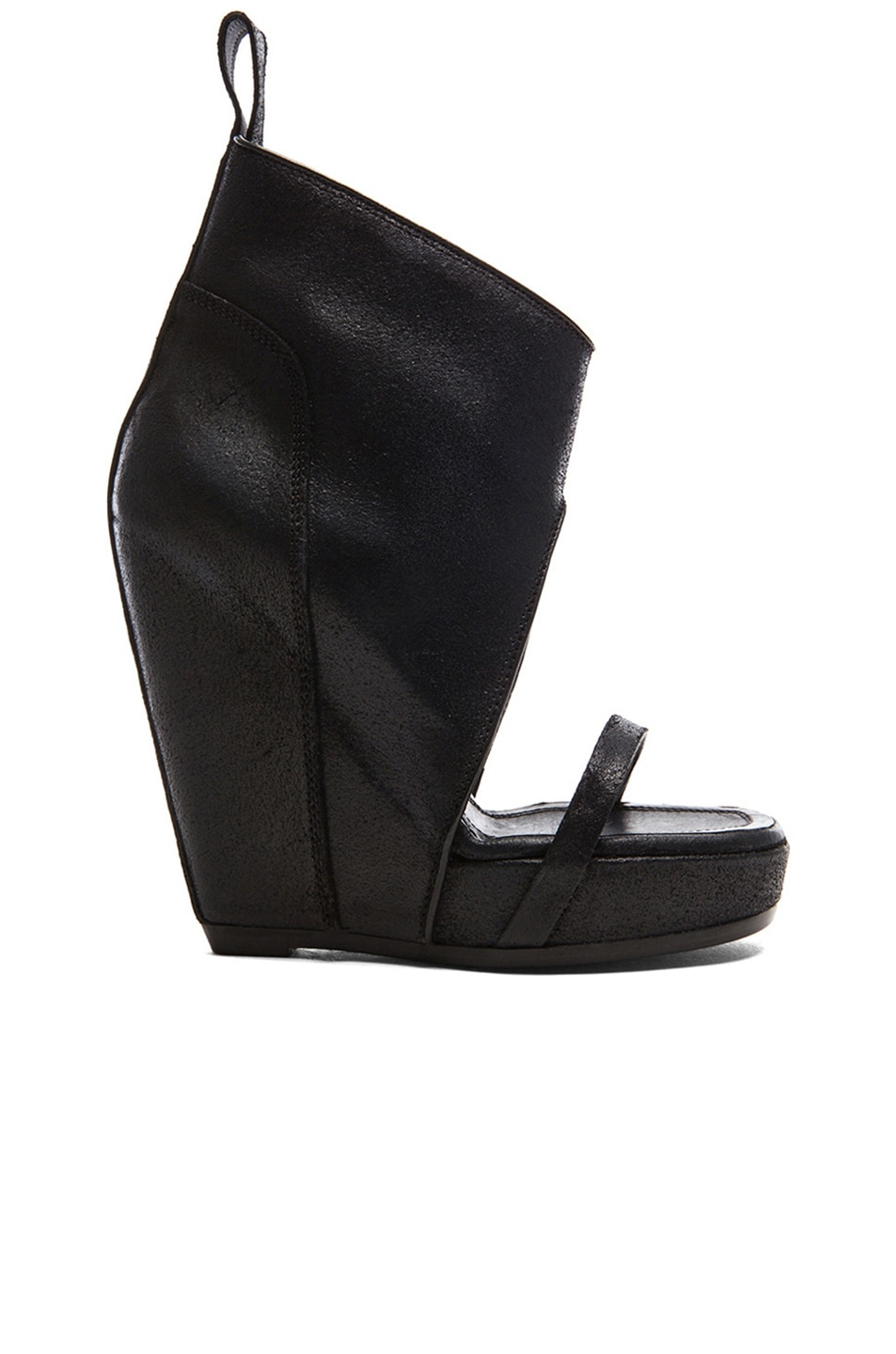 579bb521b8d Image 1 of Rick Owens Distressed Leather Wedge Sandals in Black