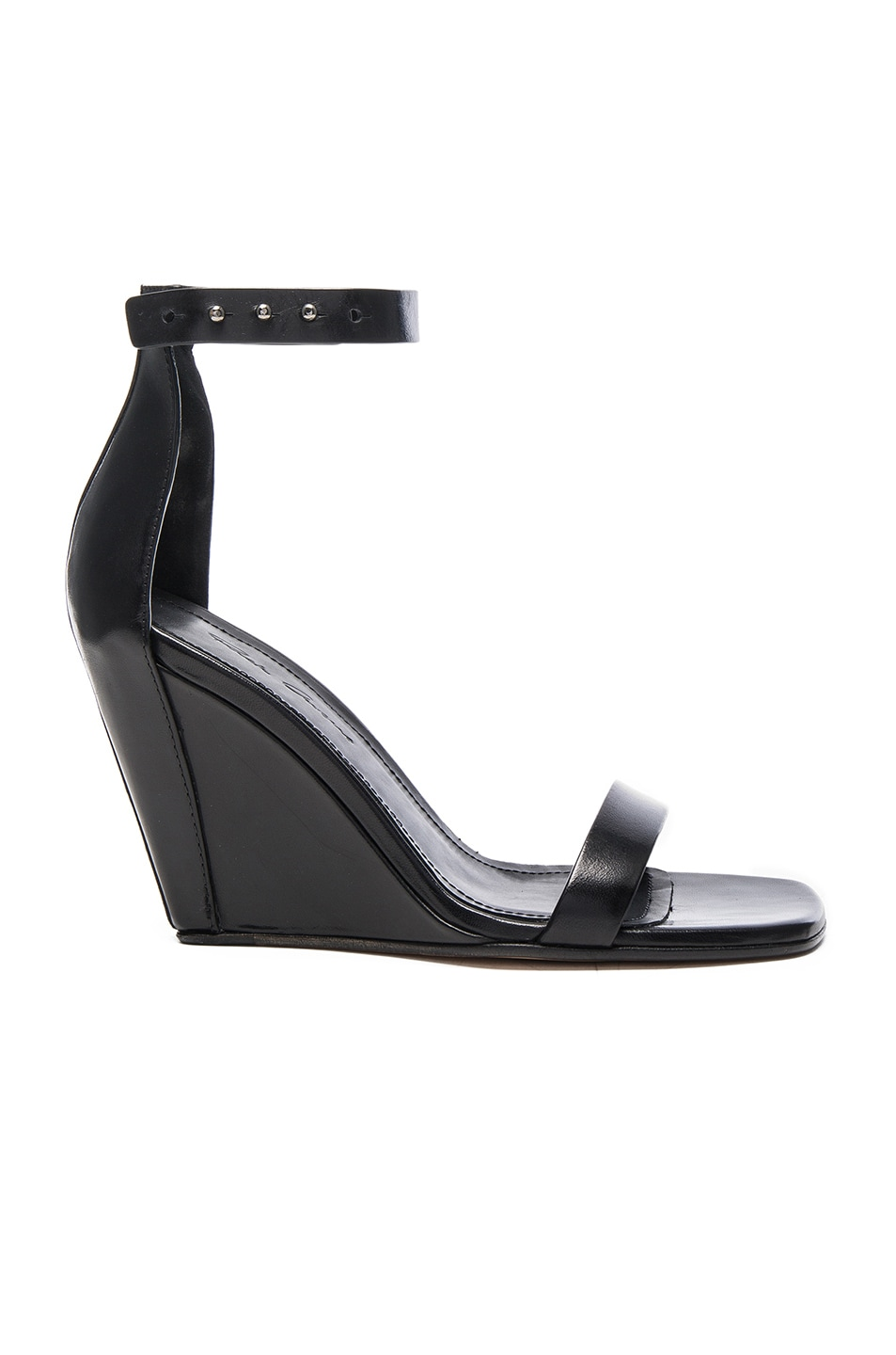 Image 1 of Rick Owens Strappy Leather Wedges in Black