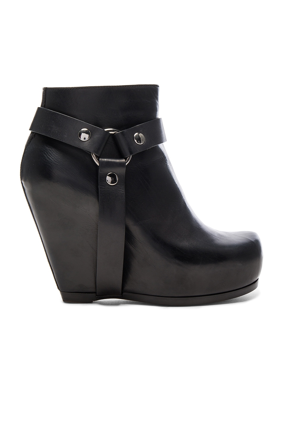 Image 1 of Rick Owens Harness Zip Leather Wedge Boots in Black