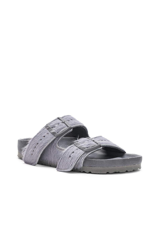 Image 2 of Rick Owens x Birkenstock Cow Hair Arizona Sandals in Grey