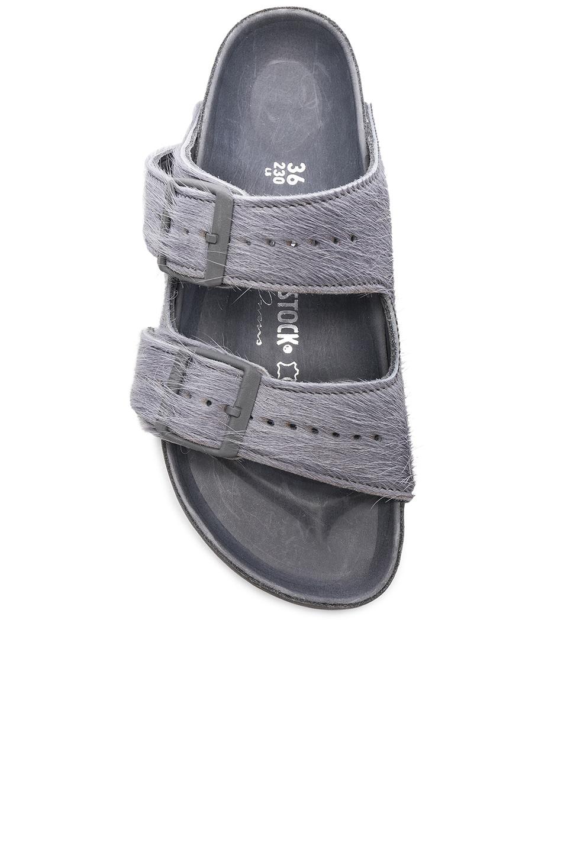 Image 4 of Rick Owens x Birkenstock Cow Hair Arizona Sandals in Grey