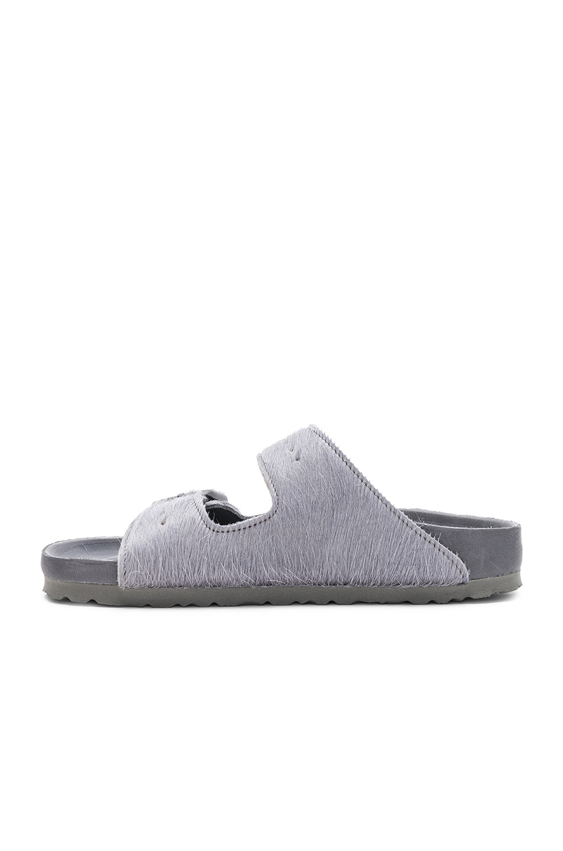 Image 5 of Rick Owens x Birkenstock Cow Hair Arizona Sandals in Grey