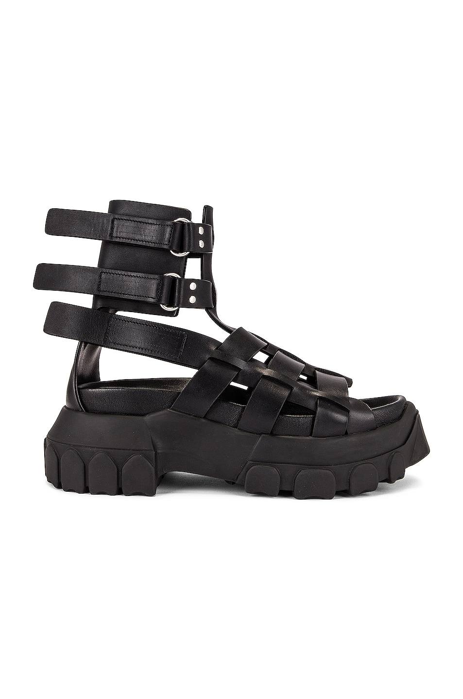 Image 1 of Rick Owens Hiking Tractor Sandal in Black