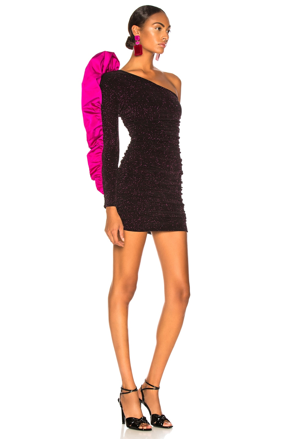 Image 2 of Redemption Jersey Mini Dress with Ruffle in Fuchsia