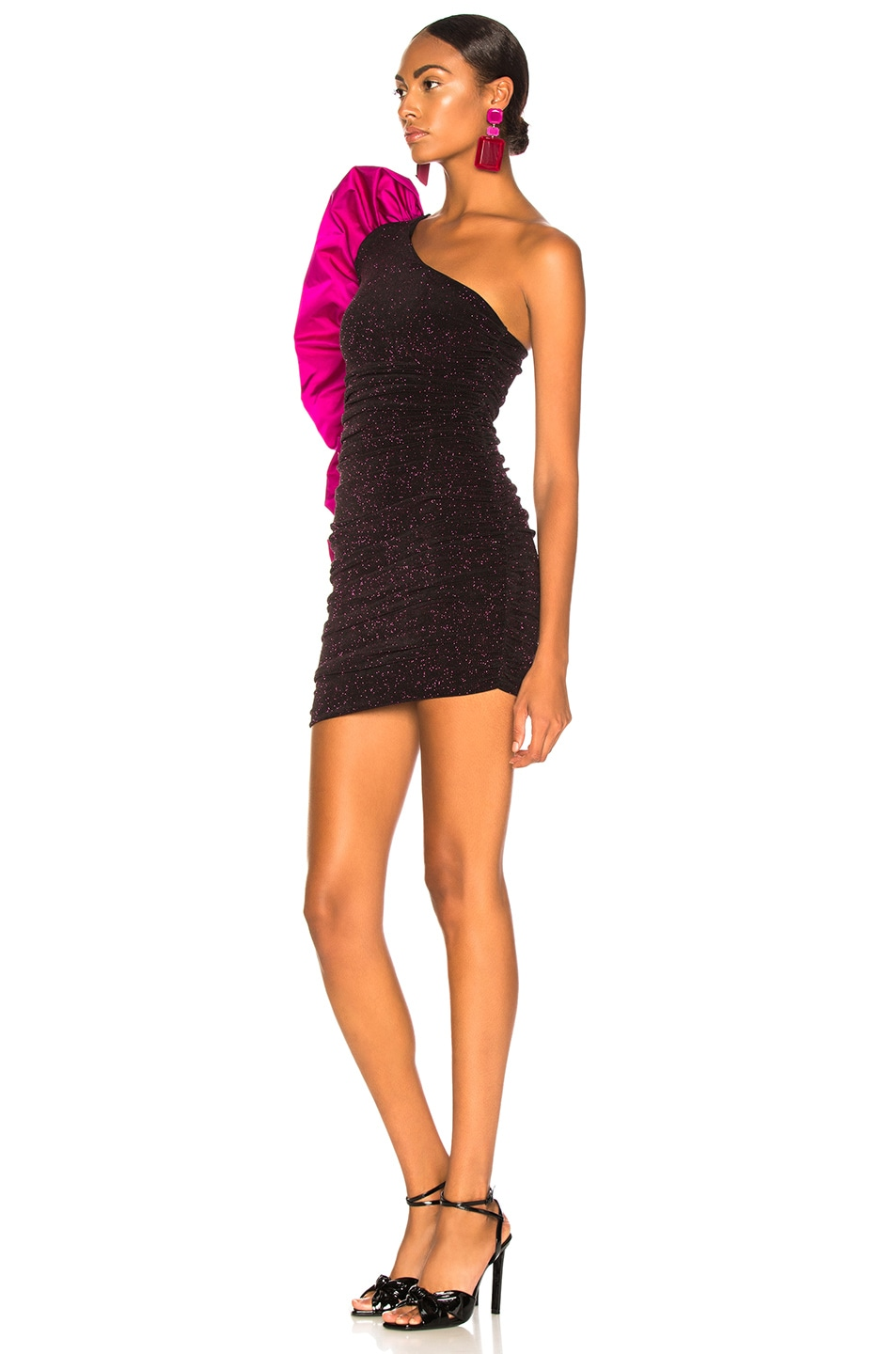 Image 3 of Redemption Jersey Mini Dress with Ruffle in Fuchsia