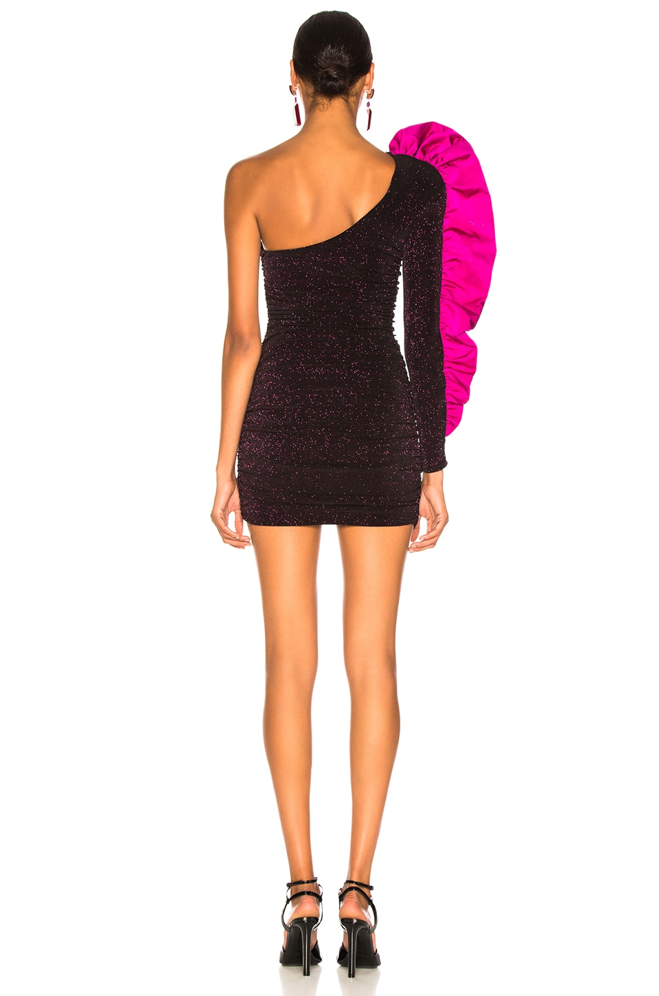 Image 4 of Redemption Jersey Mini Dress with Ruffle in Fuchsia