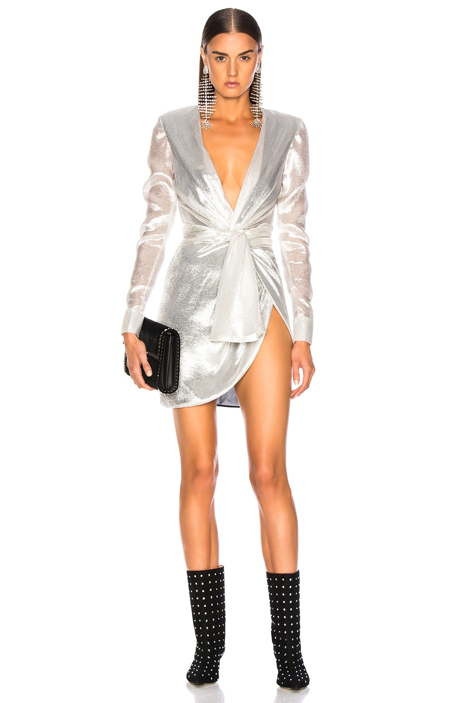 Image 1 of Redemption for FWRD Long Sleeve Dress in Silver