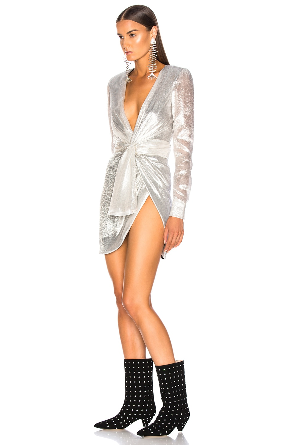 Image 3 of Redemption for FWRD Long Sleeve Dress in Silver