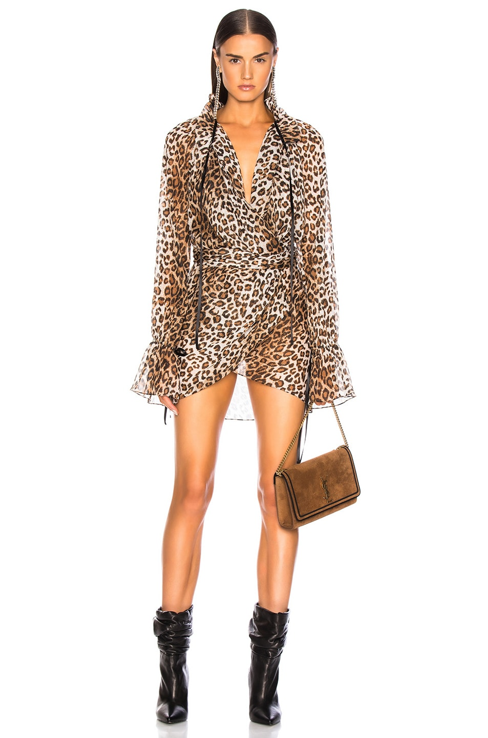 Image 1 of Redemption for FWRD Wrap Front Dress in Leopard