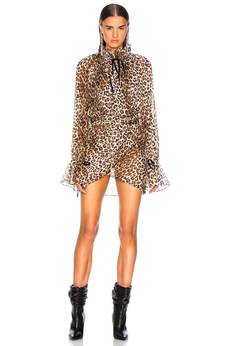Image 2 of Redemption for FWRD Wrap Front Dress in Leopard