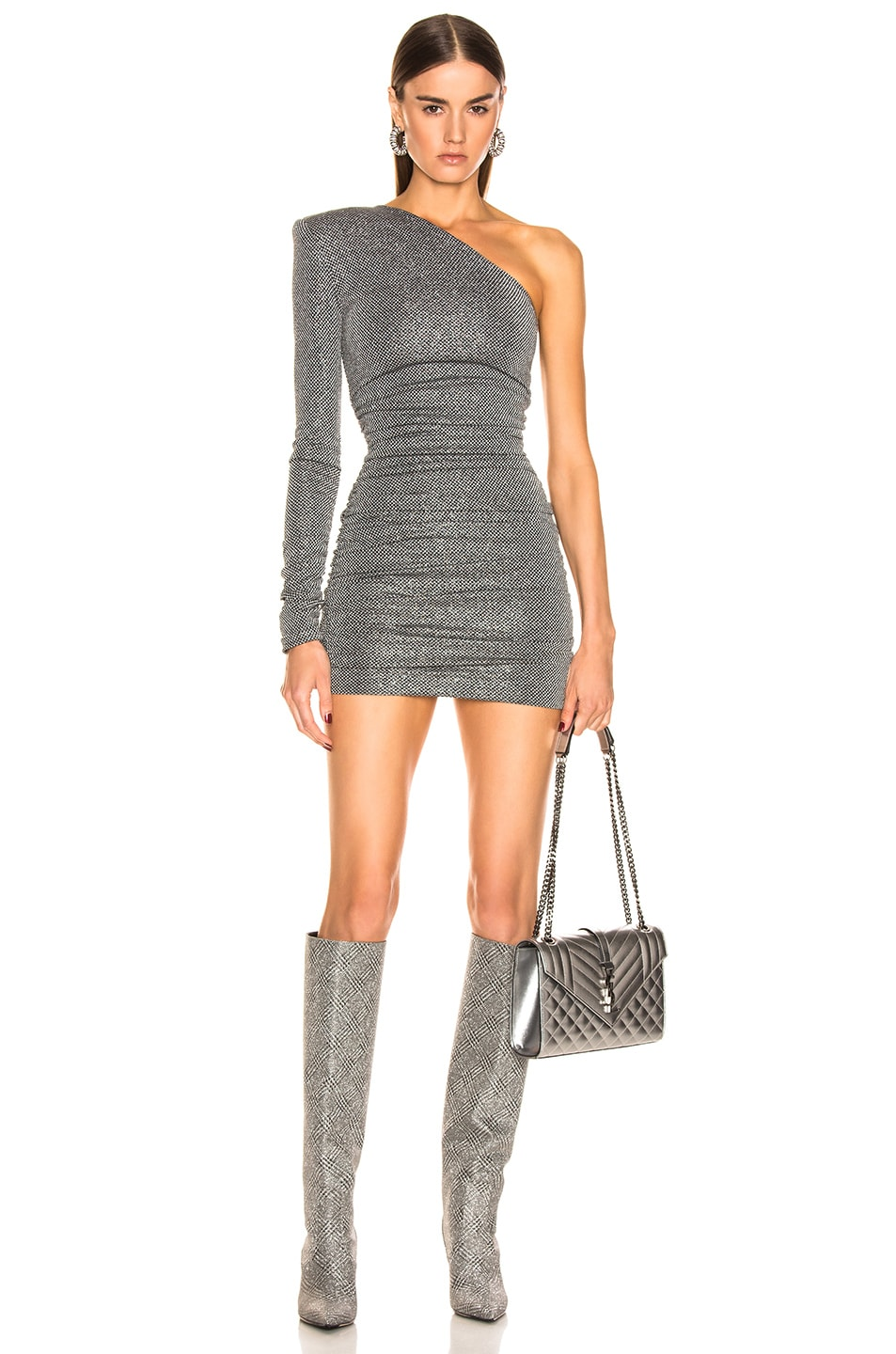 Image 1 of Redemption Dramed Check Mini Dress in Nero Silver