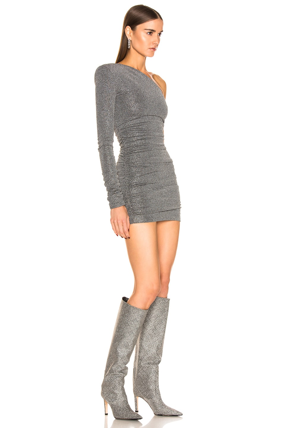 Image 2 of Redemption Dramed Check Mini Dress in Nero Silver