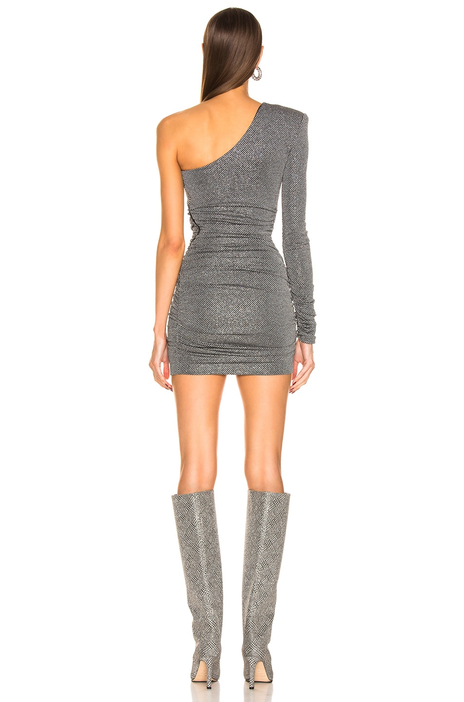 Image 3 of Redemption Dramed Check Mini Dress in Nero Silver