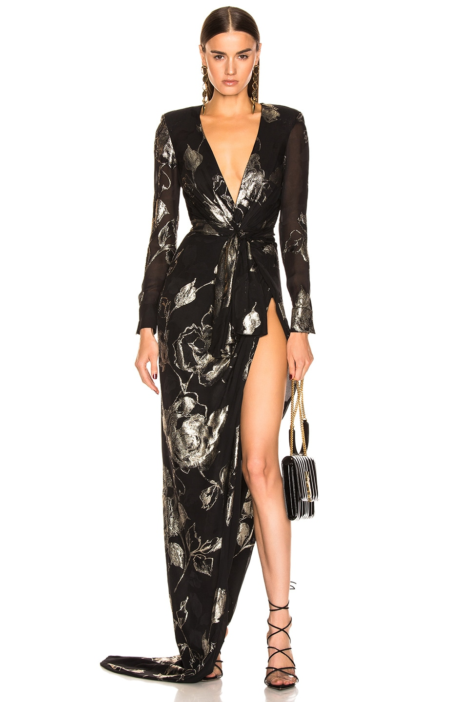 Image 1 of Redemption Flower Draped Long Dress in Black & Gold