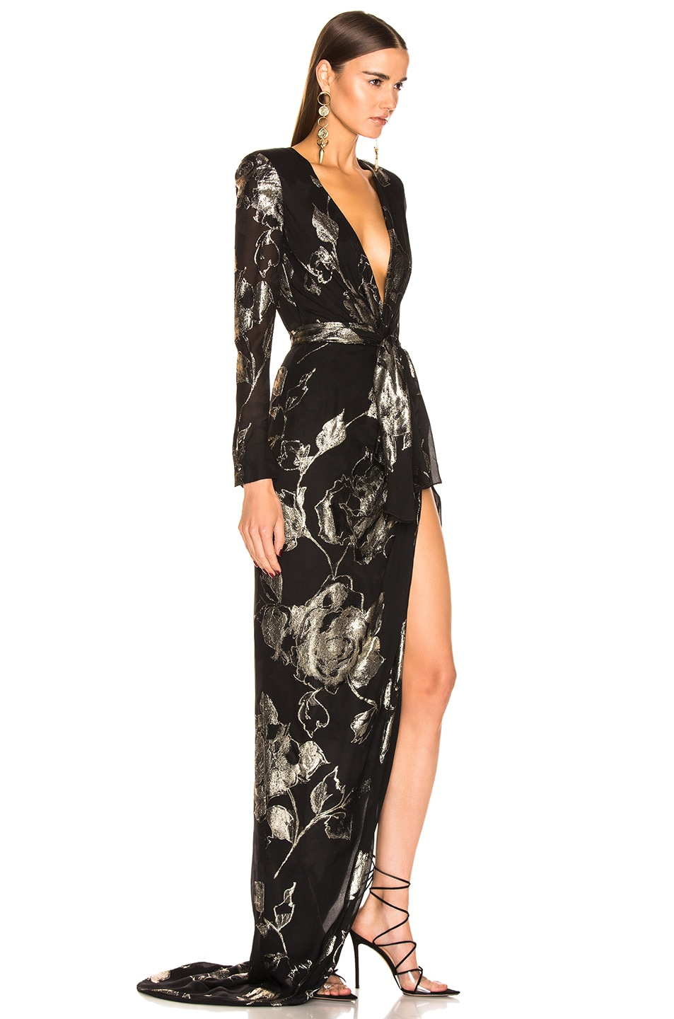Image 2 of Redemption Flower Draped Long Dress in Black & Gold