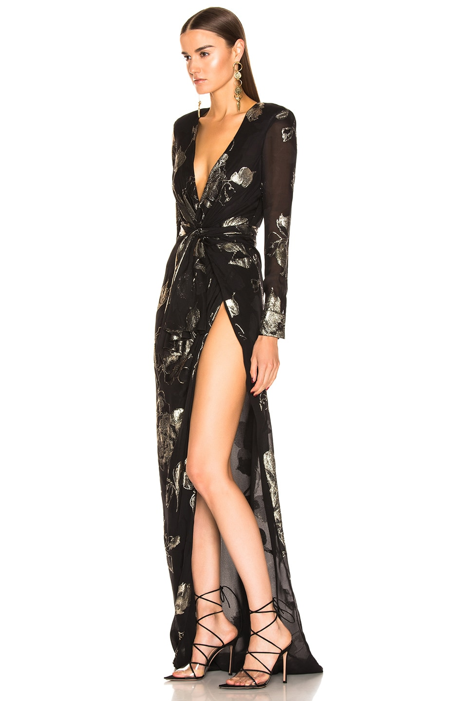 Image 3 of Redemption Flower Draped Long Dress in Black & Gold