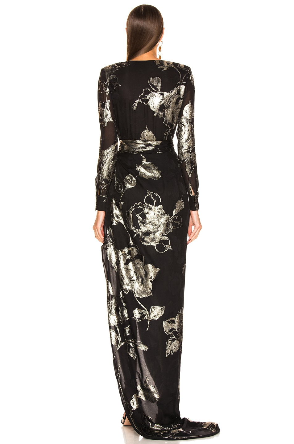 Image 4 of Redemption Flower Draped Long Dress in Black & Gold
