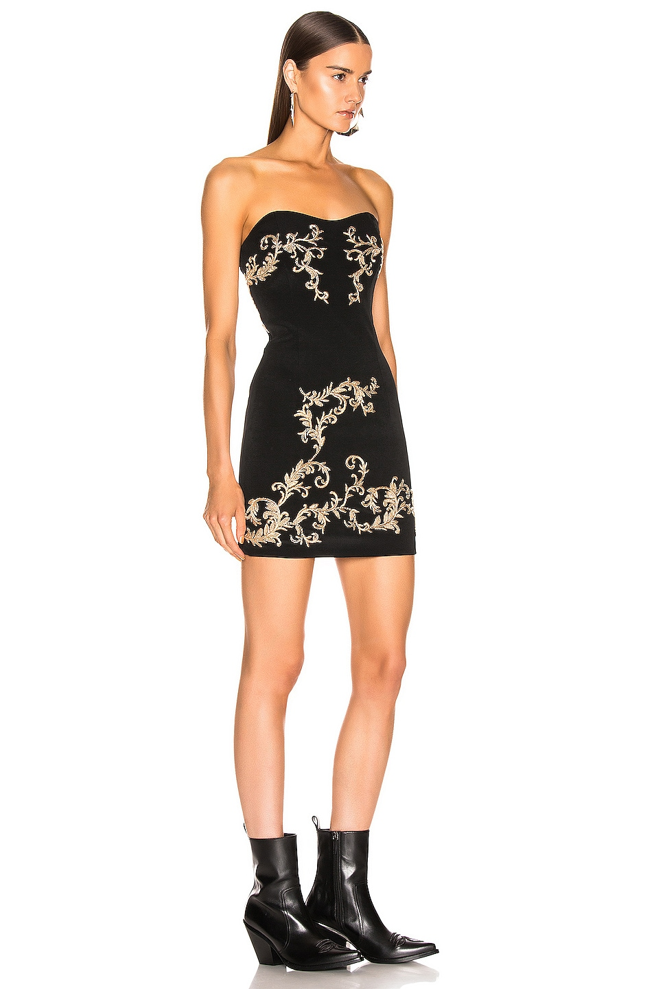 Image 2 of Redemption Gold Embroidered Mini Dress in Black