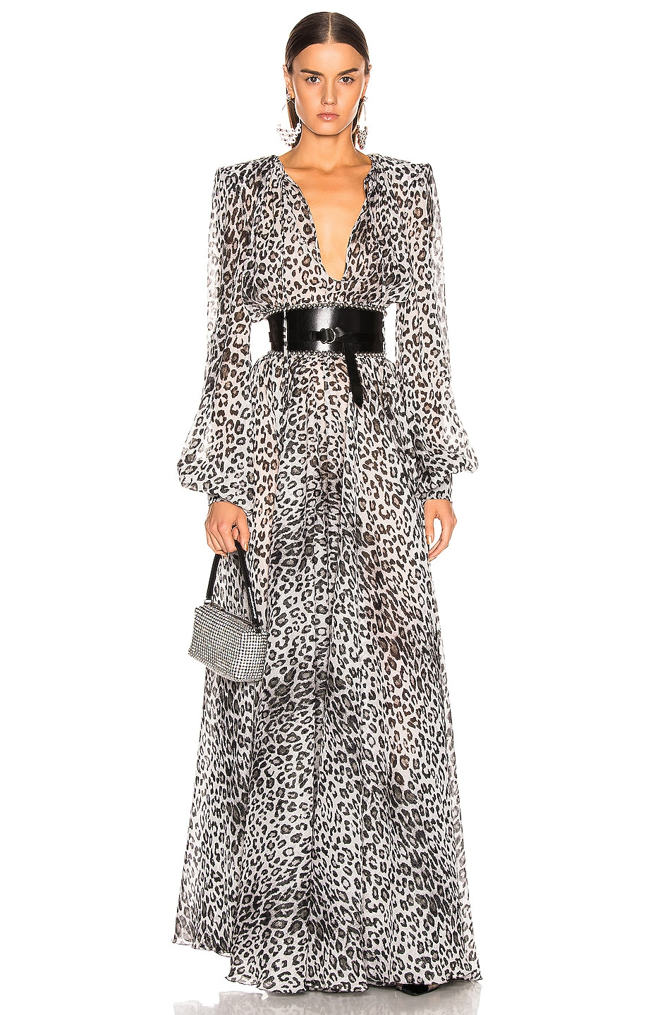 Image 1 of Redemption Leo Puff Sleeve Dress in Grey Leopard Print