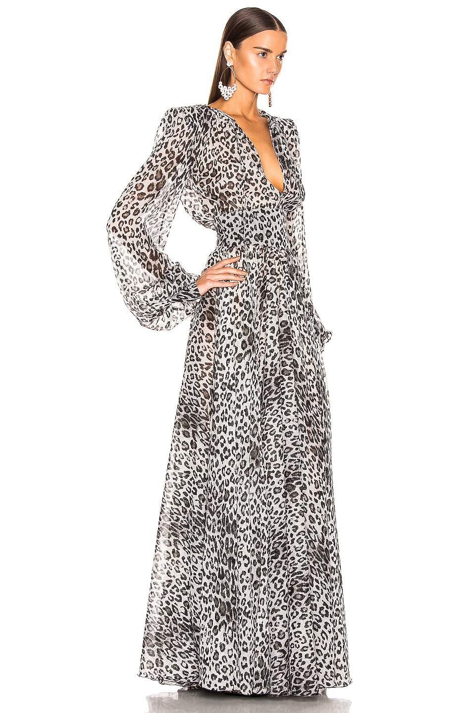 Image 2 of Redemption Leo Puff Sleeve Dress in Grey Leopard Print