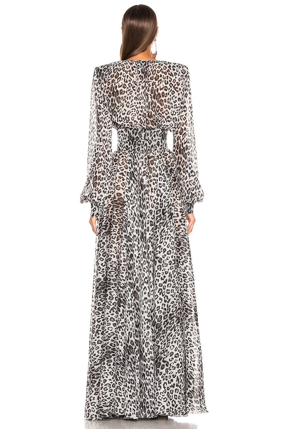 Image 3 of Redemption Leo Puff Sleeve Dress in Grey Leopard Print