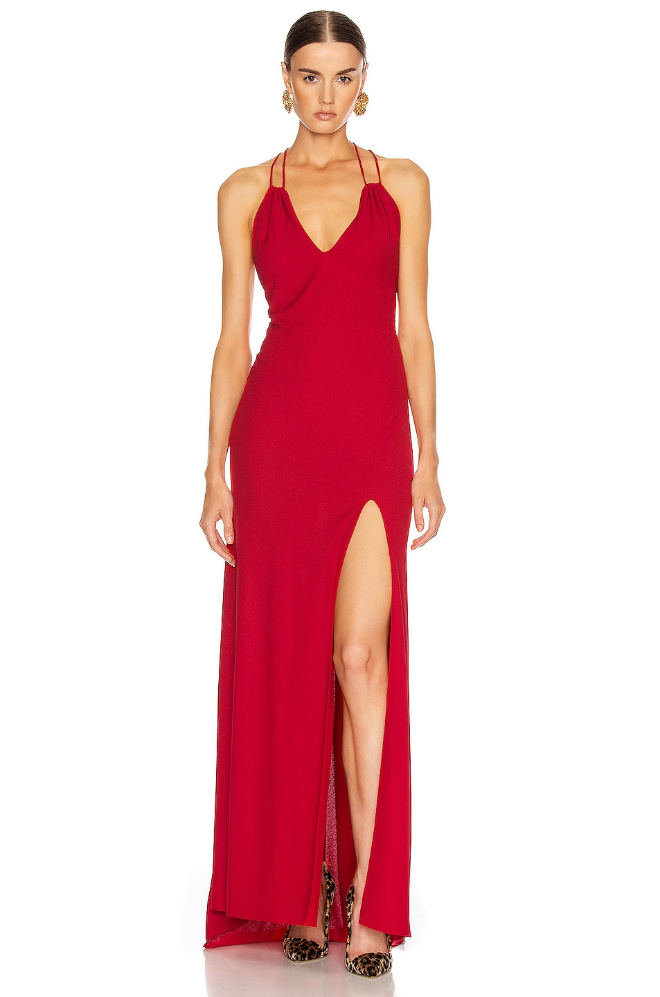 Image 1 of Redemption Jersey Crepe Long Dress in Red
