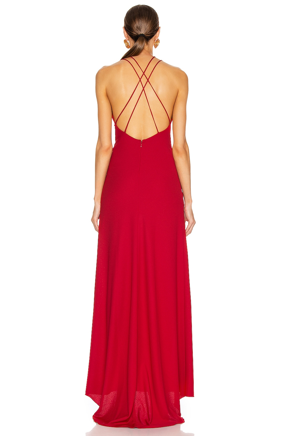Image 3 of Redemption Jersey Crepe Long Dress in Red