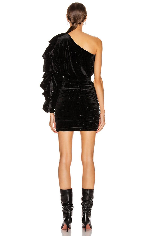 Image 4 of Redemption One Shoulder Velvet Glitter Frill Dress in Black