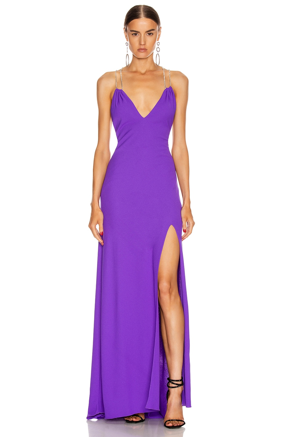 Image 1 of Redemption Jersey Crepe Crystal Strap Dress in Purple