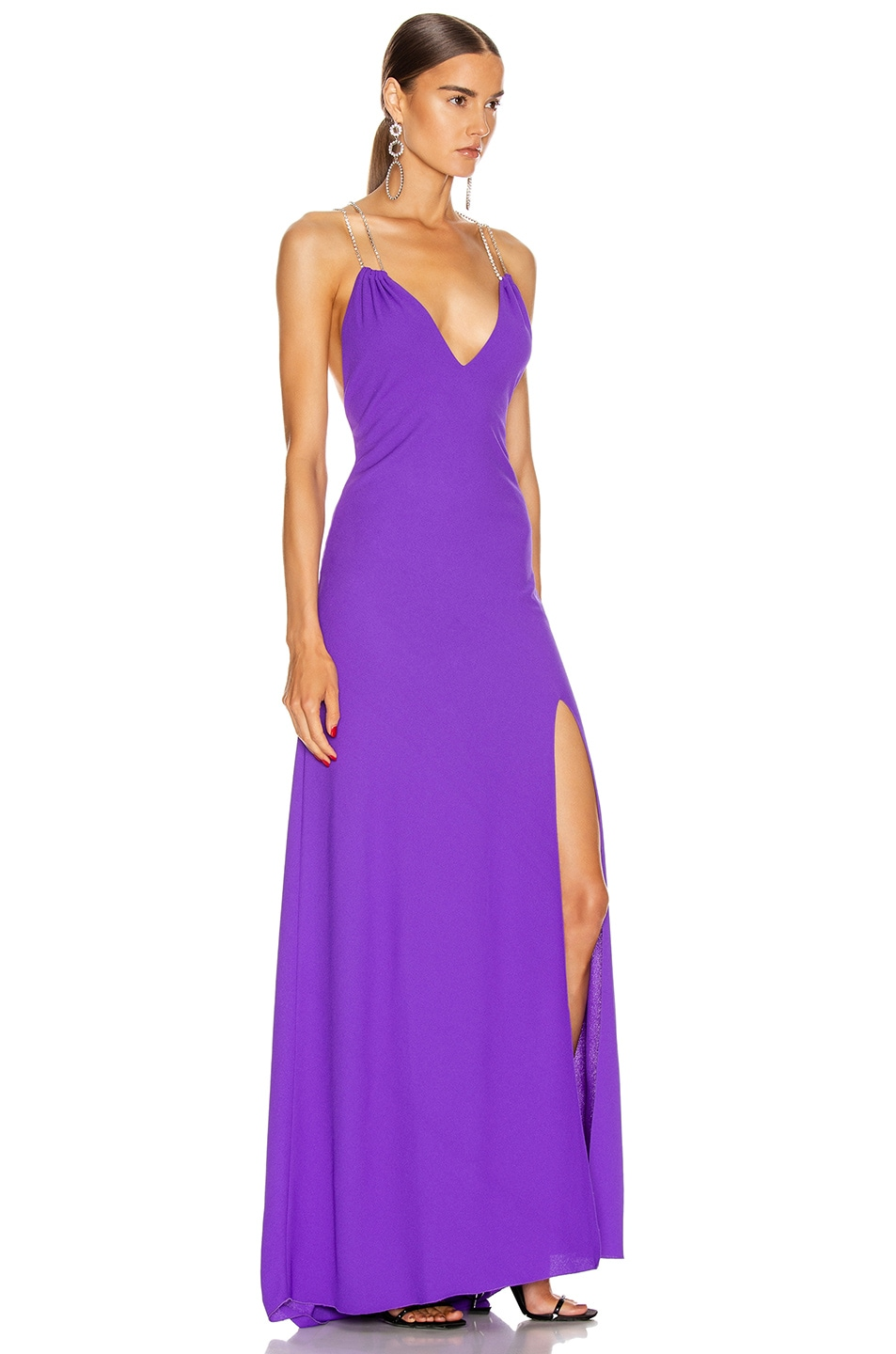 Image 2 of Redemption Jersey Crepe Crystal Strap Dress in Purple