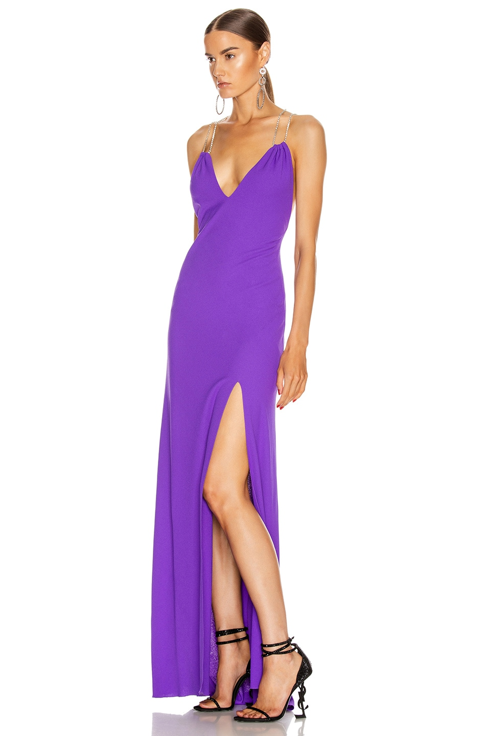 Image 3 of Redemption Jersey Crepe Crystal Strap Dress in Purple