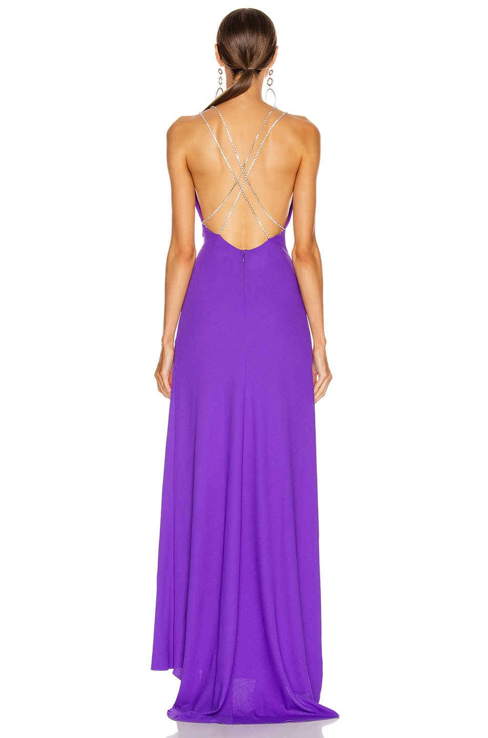 Image 4 of Redemption Jersey Crepe Crystal Strap Dress in Purple