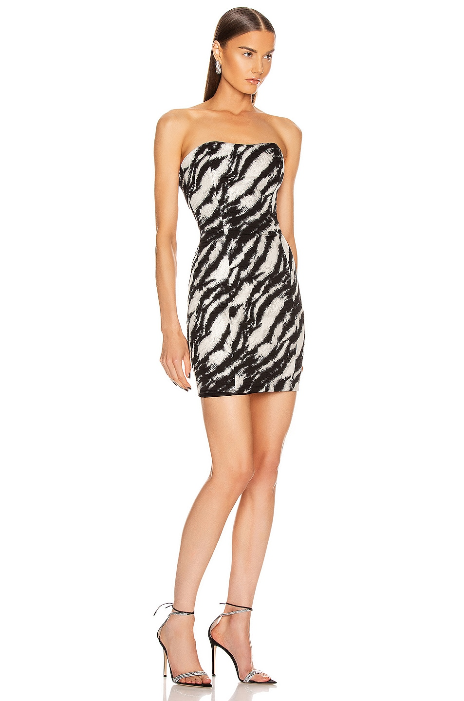 Image 2 of Redemption Jacquard Straight Strapless Dress in Zebra Black Silver