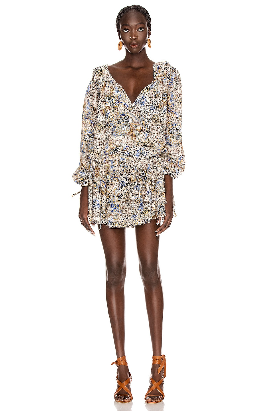Image 2 of Redemption Paisley Loose V Neck Dress in Multicolor