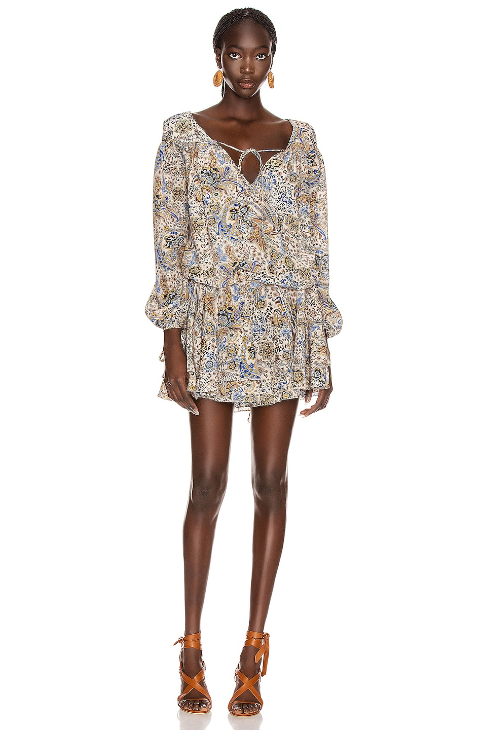 Image 3 of Redemption Paisley Loose V Neck Dress in Multicolor
