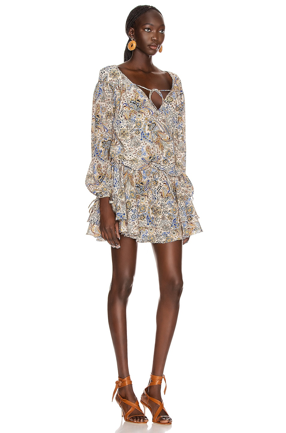 Image 4 of Redemption Paisley Loose V Neck Dress in Multicolor
