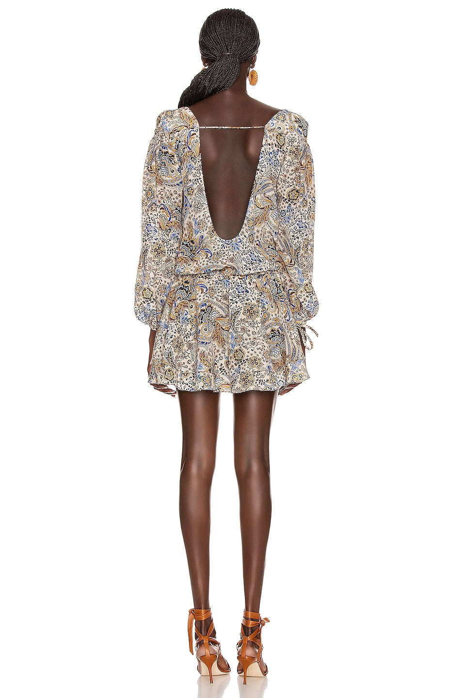 Image 5 of Redemption Paisley Loose V Neck Dress in Multicolor